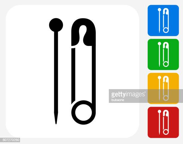 Needle and Safety Pin Icon Flat Graphic Design