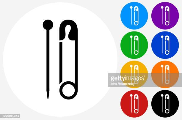 Needle and Safety Pin Icon on Flat Color Circle Buttons