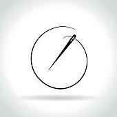 needle icon on white background