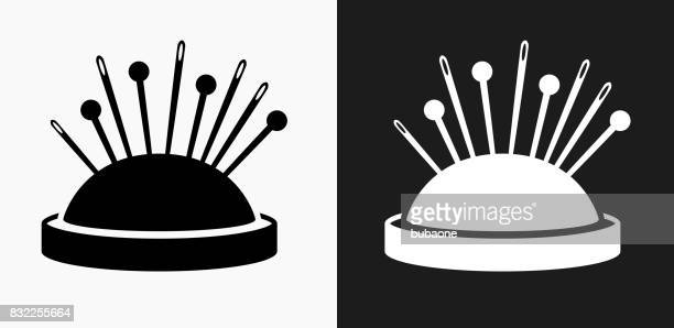 Needle Pins Icon on Black and White Vector Backgrounds