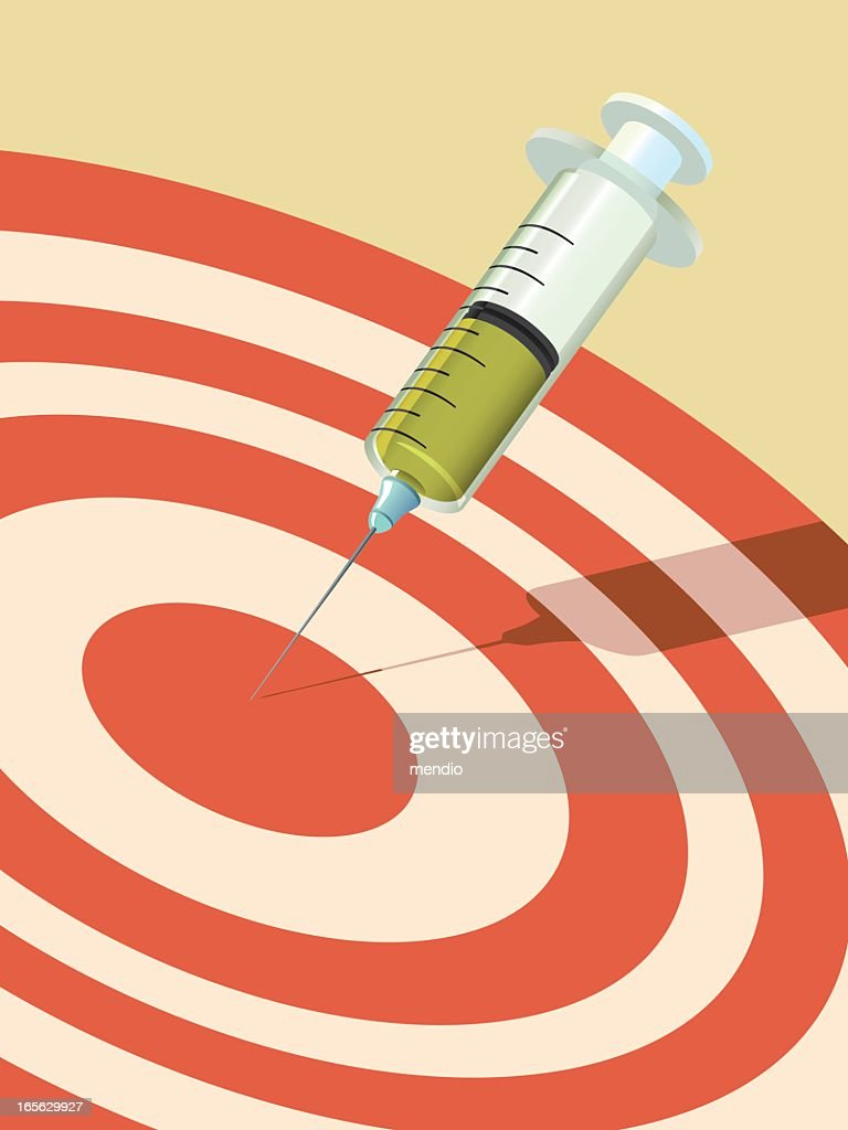 A needle portraying a dart in the center of a target