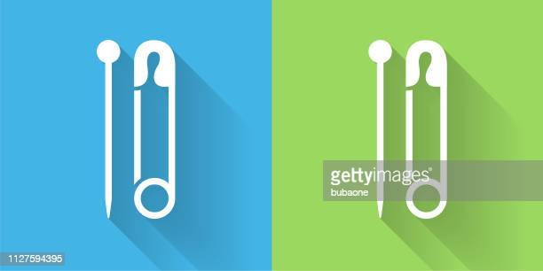 Needle & Safety Pin Icon with Long Shadow