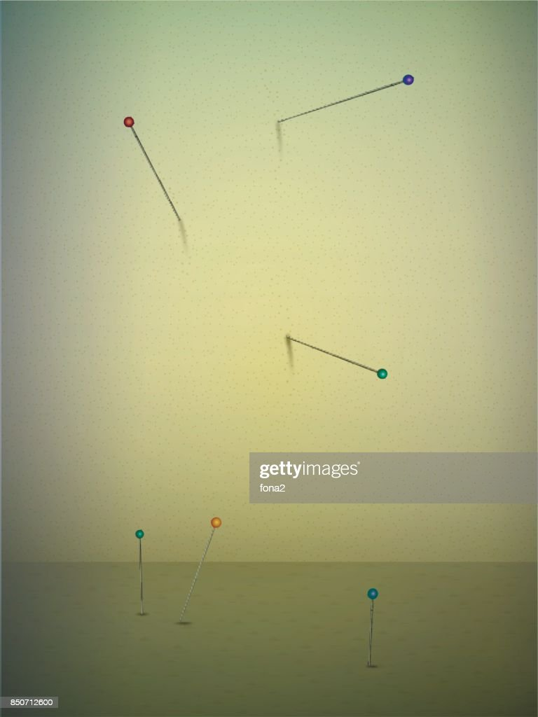 Needles In The Wall Surrealistic Space In Sepia Color Vector Art ...