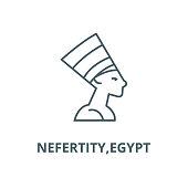 Nefertity,egypt vector line icon, linear concept, outline sign, symbol