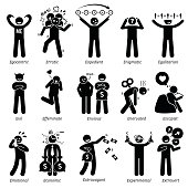 Negative and Neutral Personalities Character Traits. Stick Figures Man Icons.