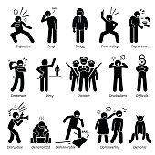 Negative Personalities Character Traits. Stick Figures Man Icons.