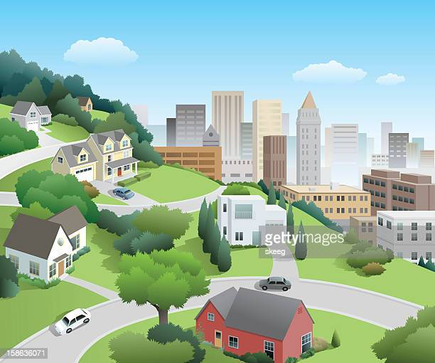 neighborhood above the city - house exterior stock illustrations, clip art, cartoons, & icons