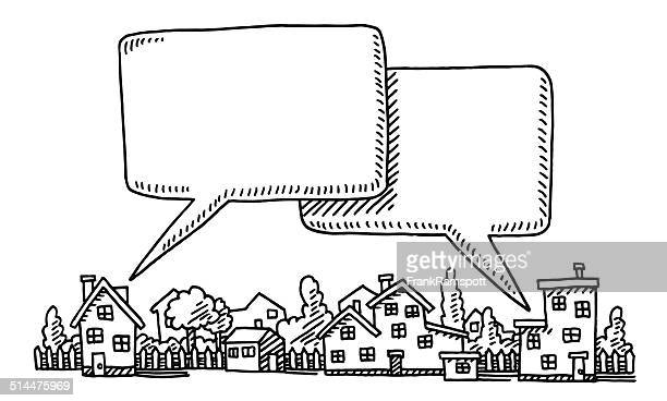Neighborhood Communication Speech Bubble Drawing