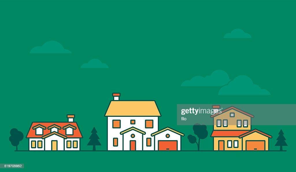 Neighborhood Houses : Stock Illustration