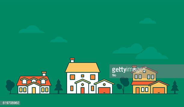 neighborhood houses - house stock illustrations