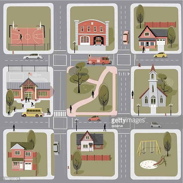 ilustrações, clipart, desenhos animados e ícones de bairro - mapa de rua