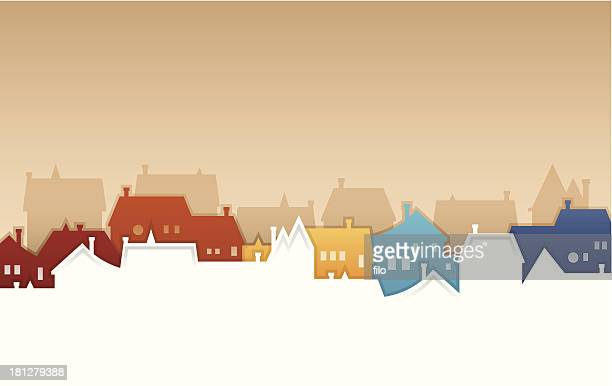 neighborhood - town stock illustrations