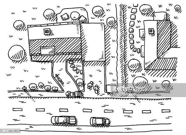 Neighborhood View From Above Drawing