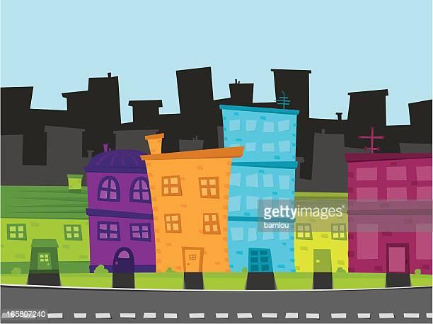neighbourhood building cartoon - funky stock illustrations