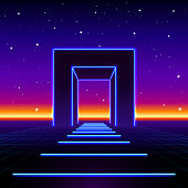 Neon 80s styled massive gate in retro game landscape with shiny road to the future