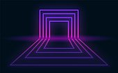 Neon abstract futuristic background. Neon portal with reflection in the dark room.