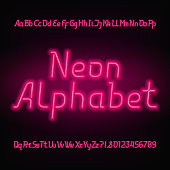 Neon alphabet font. Glowing uppercase and lowercase letters and numbers.
