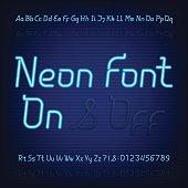 Neon alphabet font. Lights on or off.