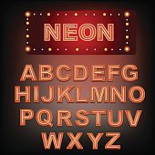 Neon alphabet. Font with neon letters.