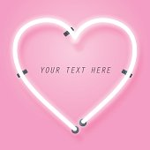 Neon and pink glow effect of love with space for text, valentine's day and romance concept