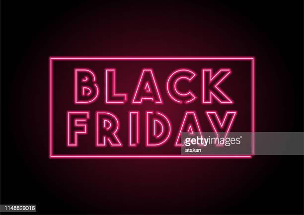 ilustraciones, imágenes clip art, dibujos animados e iconos de stock de etiqueta del viernes negro de neón en la pared negra - black friday