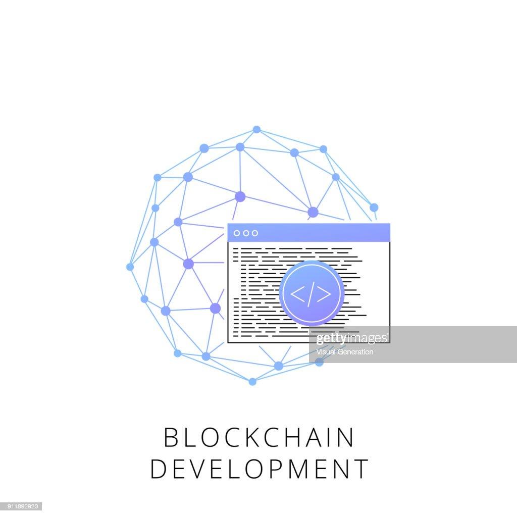 Neon blockchain development vector line icon
