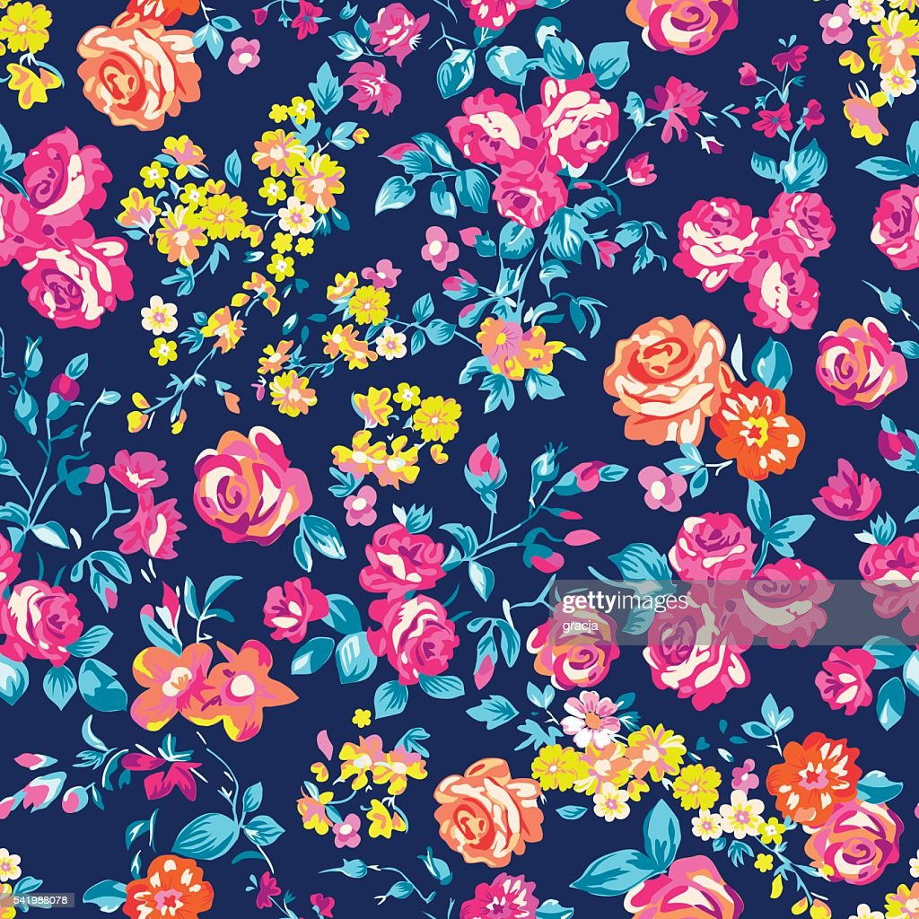 Neon bright rose garden ~ seamless vector pattern
