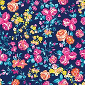 Neon bright rose garden ~ seamless vector pattern