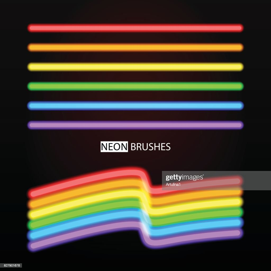 Neon brushes. Vector set of rainbow glowing lines