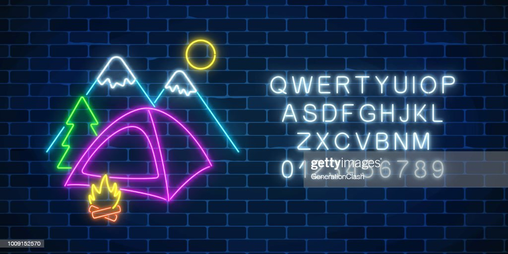 Neon camping sign with tent, bonfire, mountains, spruce and alphabet. Glowing web banner for summer camp, camping