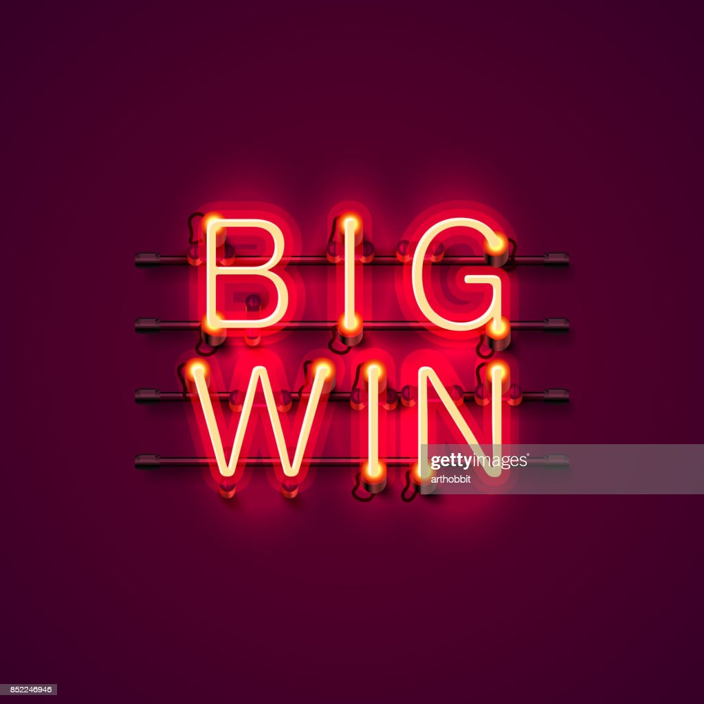 Neon casino big win signboard.