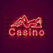 Neon Casino sexy girl signboard.