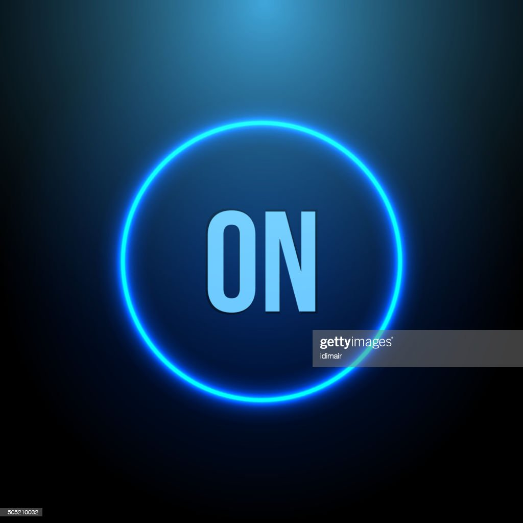 Neon Circle. Button with Blue Light. Vector