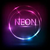 Neon cirlce, light effects banner design. Vector Illustration