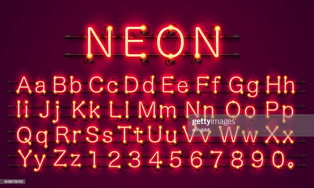 Neon city color red font. English alphabet sign.
