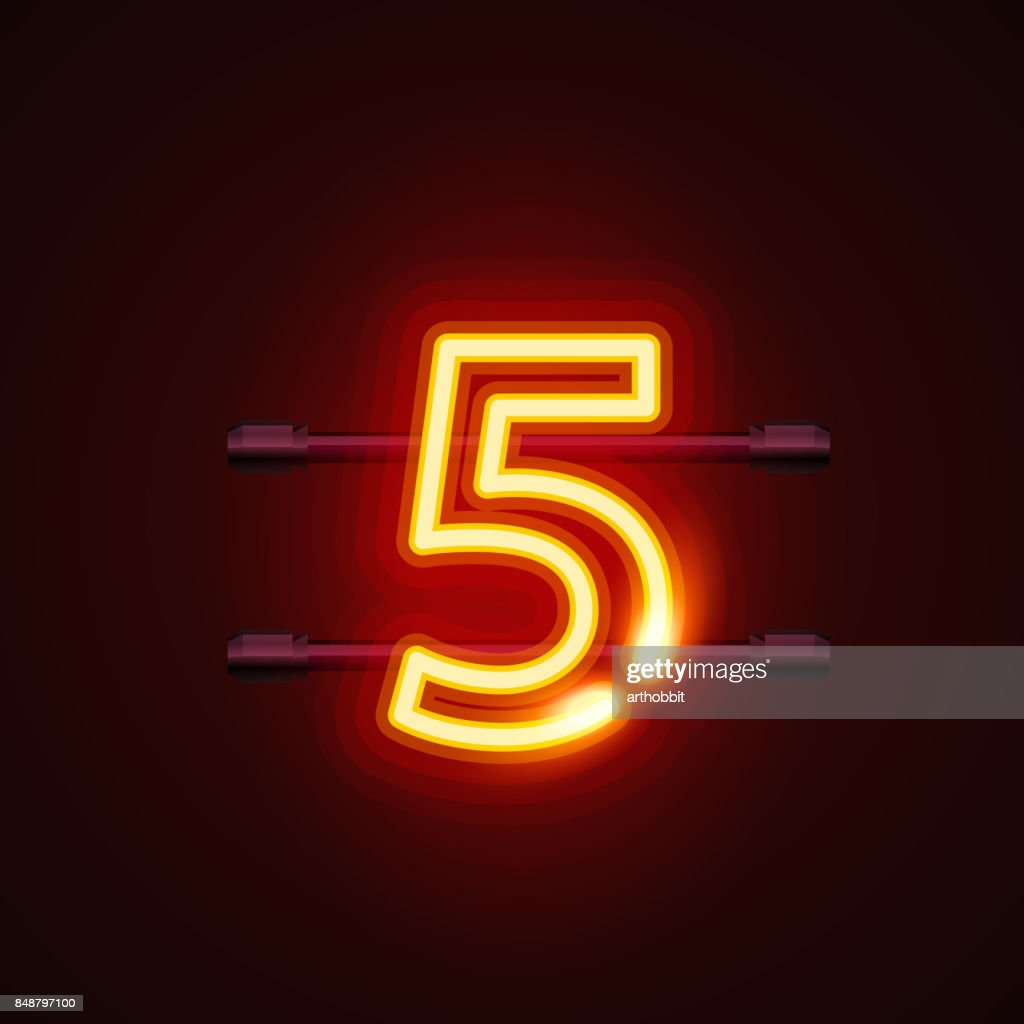 Neon city font sign number 5, signboard five.
