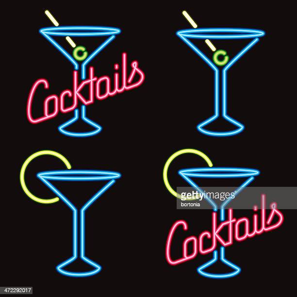 neon cocktail lounge signs - cocktail stock illustrations
