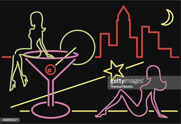 neon cocktail sign - sensuality stock illustrations, clip art, cartoons, & icons
