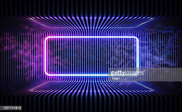 neon color geometric round rectangle on metal stripe pattern background. mystical portal, luminous line, neon sign. reflection of blue and pink neon light on the floor. rays of light in the dark, smoke. vector. - projection screen stock illustrations