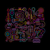 Neon Colors Abstract Music Design