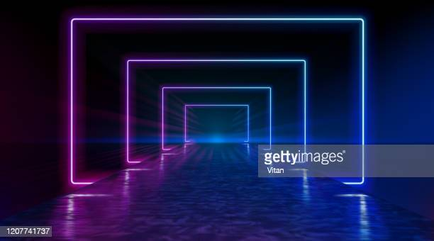 neon corridor stretching to the horizon, clear night sky without clouds, reflection of light on the wet surface of the road. the road to the horizon. futuristic portals. vector. - stage performance space stock illustrations