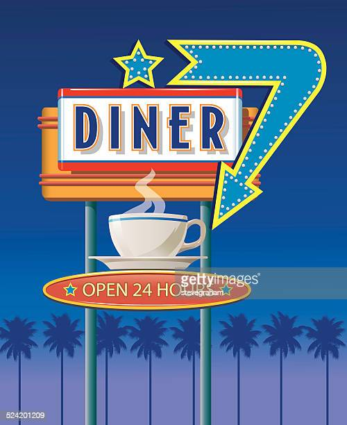 neon diner sign - sign stock illustrations