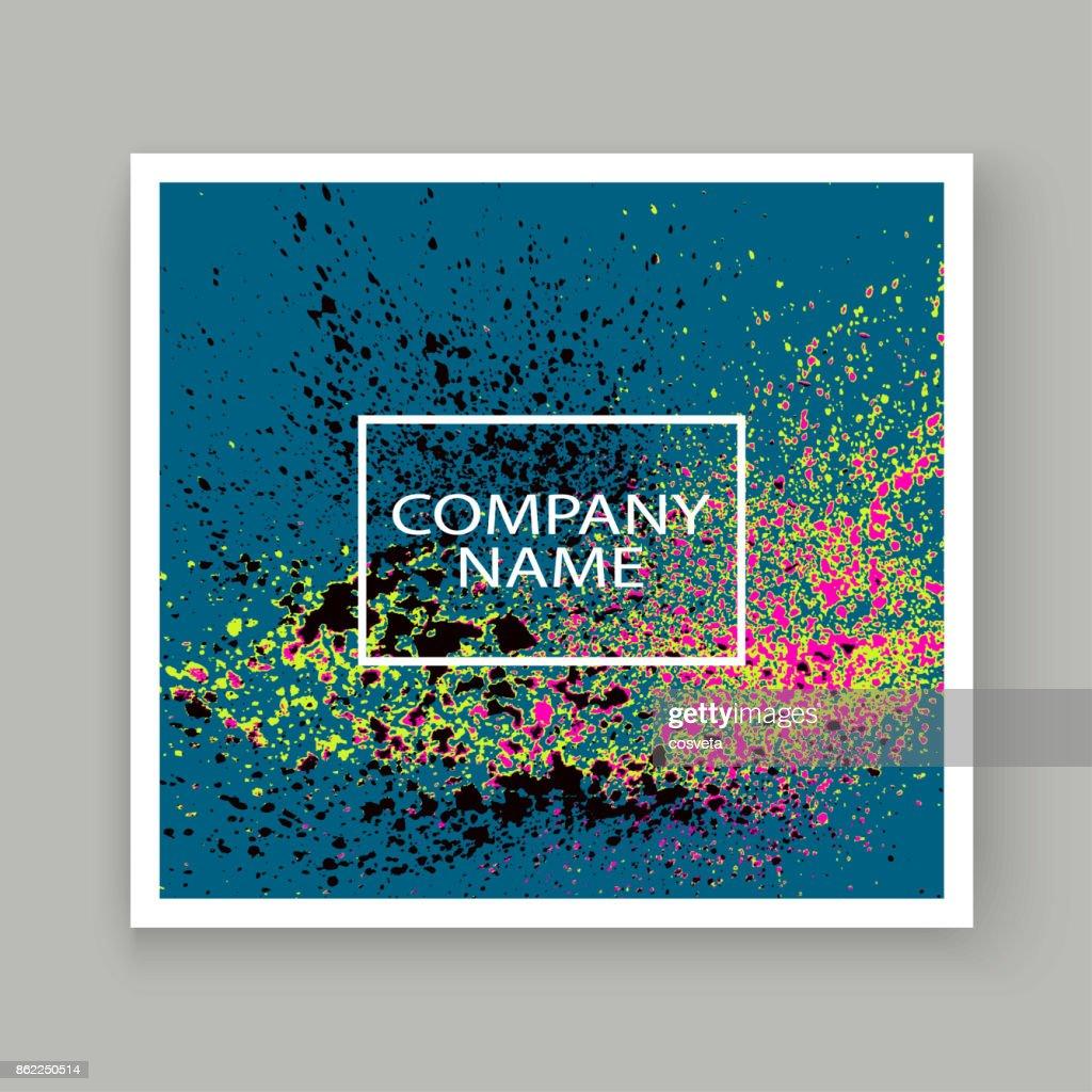 Neon explosion paint splatter artistic cover frame design. Decorative pink splash spray texture blue light background. Trendy template vector Cover Report Catalog Brochure Flyer Poster Banner
