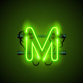 Neon font letter m, art design singboard.