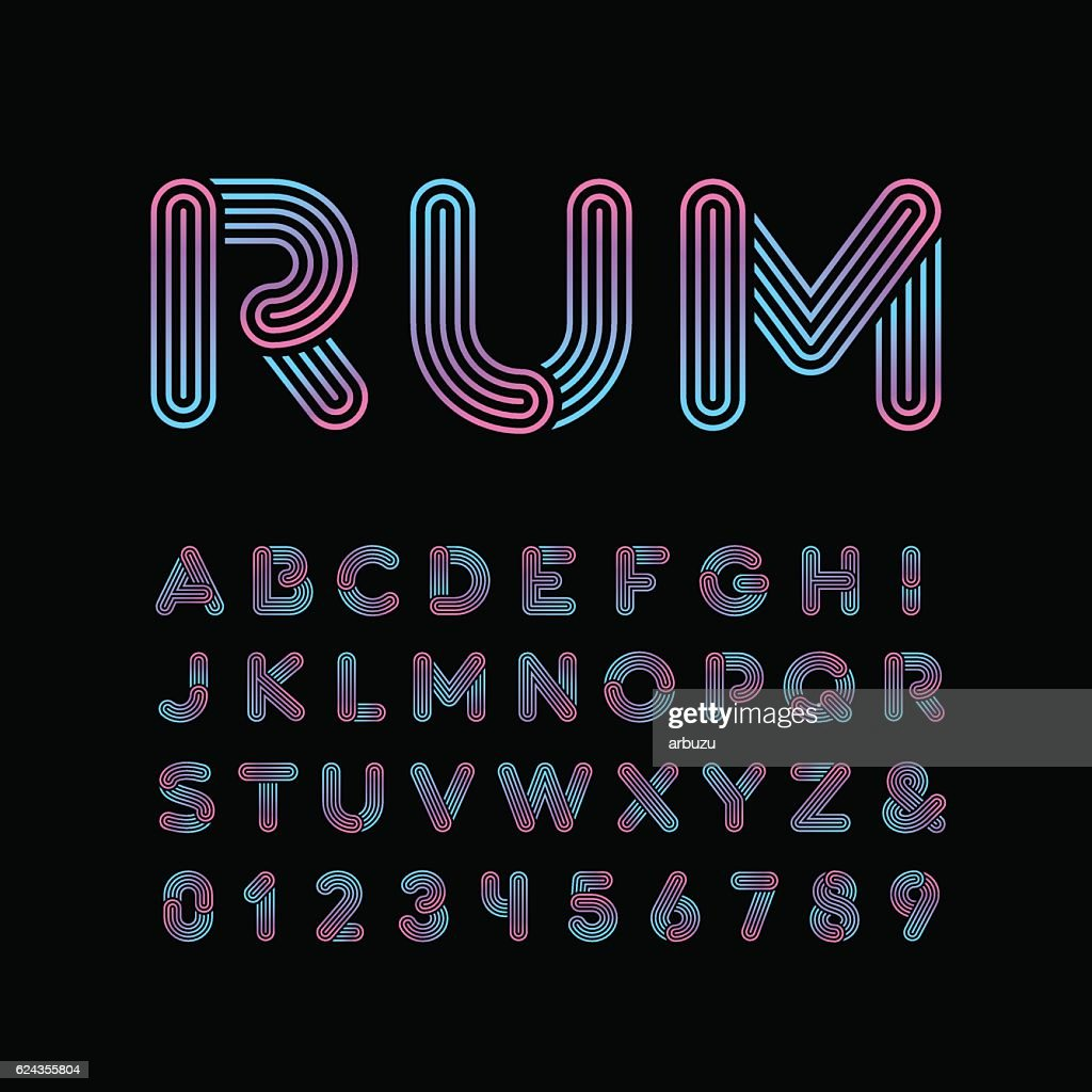 Neon font. Vector alphabet with neon stripes effect.