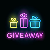 Neon giveaway vector card with gift boxes