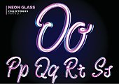 Neon Glowing 3D Typeset. Font Set of Glass Letters. Glossy Pink and Blue Colors. Night Glow Effect.