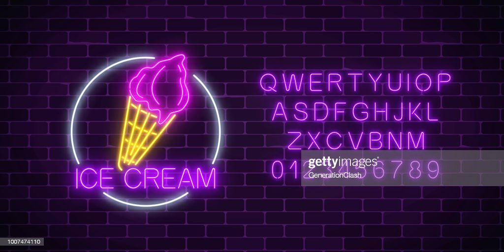 Neon glowing sign of cake with glaze in circle frame with alphabet. Fastfood light billboard symbol.