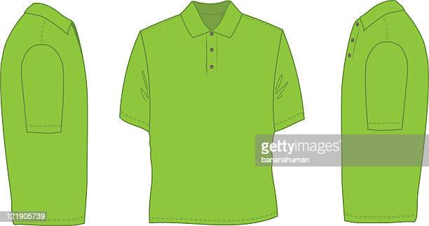 neon green sketch of a polo shirt - drawing artistic product stock illustrations