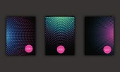 Neon halftone abstract flyer design set, vector illustration.